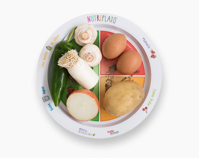 Receta: Huevos revueltos con puerro, pimiento verde, champiñones, cebolla y patata