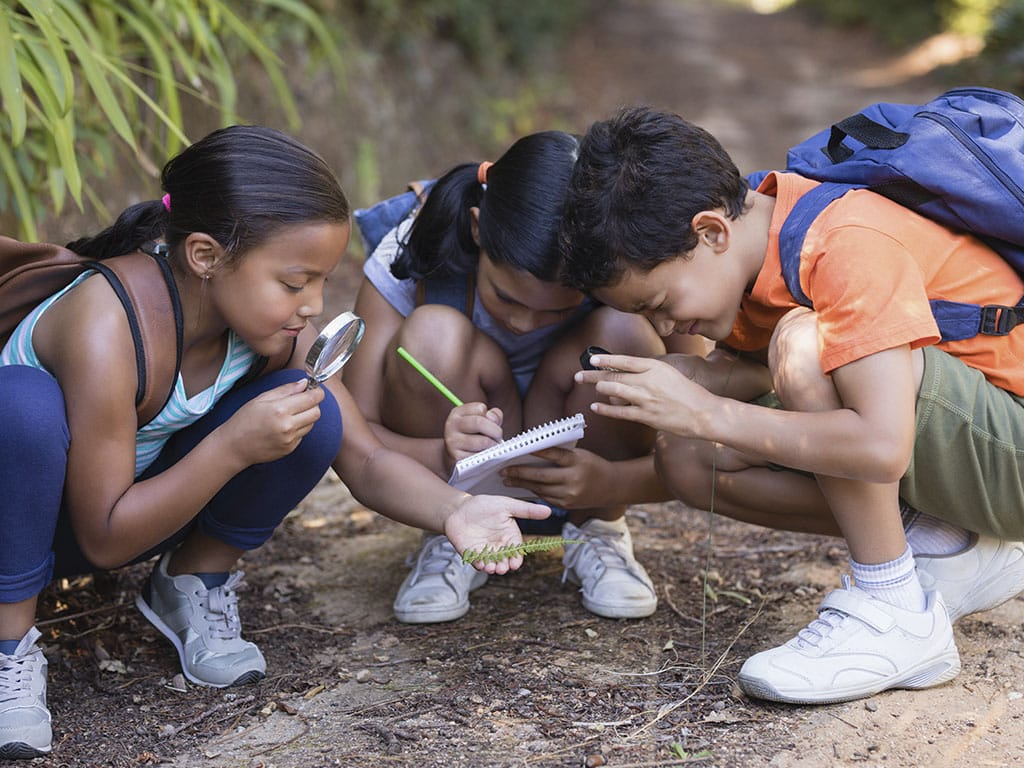 Niños agachados buscanso un tesoro